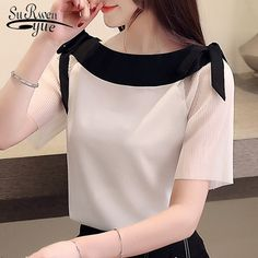 Blusas mujer de moda 2020 women blouses short sleeve women shirts white chiffon blouse shirt womens tops and blouses Sleeves Designs For Dresses, Dress Neck Designs, Blouse Designs, Stylish Dresses, Fashion Dresses, White Chiffon Blouse, Kurti Designs Party Wear, Dress Indian Style, Blouses For Women