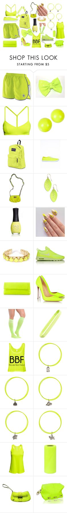 """""""Neon yellow color collection"""" by gatorlover52 ❤ liked on Polyvore featuring H&M, Alexis Bittar, JanSport, Missguided, Marc by Marc Jacobs, ORLY, Towne & Reese, NIKE, Nancy Gonzalez and Christian Louboutin"""