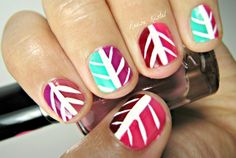 Reese Kistel nails Feathers and colour blocked