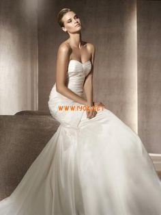 Strapless Mermaid Ruched Ivory Satin Modern Designer Wedding Dresses 2013