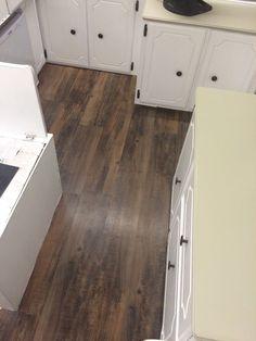 Pop up camper floors. This peel & stick vinyl plank flooring is from Lowes & feels like handscraped hardwood.