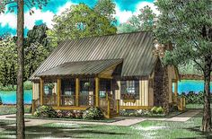 Bluff's Edge Cabin Cottage - 59123ND | Architectural Designs - House Plans Cabin Plans With Loft, Cabin Loft, Cabin House Plans, Cabin Floor Plans, New House Plans, Small House Plans, Small Log Cabin Plans, Cabin Kits, Building A Porch