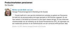 Referentie van Marlies van den Beld manager Productmanagement & Marketing de Goudse verzekeringen.