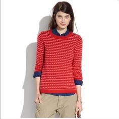 """❤️ Madewell heart striped sweater ❤️ Size M. I almost always wear XS in Madewell but for a comfortable (still fitted) look I'm a M in this sweater.   Perfect for Valentine's Day. 100% wool. Dry clean only - freshly dry cleaned and ready for wear. 22.5"""" length, 18.5 across bust, waist 18"""" across. Madewell Sweaters"""