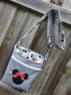 Disney Minnie Mouse Inspired Gray Chevron Crossbody by AvaBabyCo, $46.00