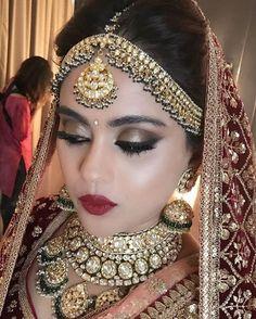 52 Ideas For Indian Bridal Jewelry Kundan Brides Beautiful Bridal Makeup Images, Indian Bridal Makeup, Bridal Makeup Looks, Indian Bridal Fashion, Indian Wedding Jewelry, Indian Wedding Outfits, Bride Makeup, Bridal Outfits, Bridal Looks