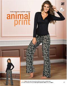Pijama, color negro. De dos piezas multiusos de escote y pantalon largo, de increible estampado animal print. $594.00 Tallas CH, M, G, EG