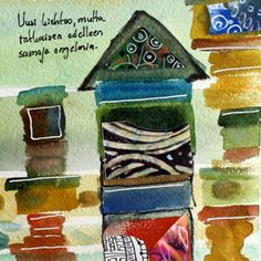 Watercolor Art Journaling - Peony and Parakeet