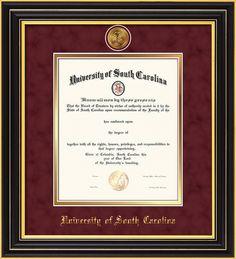 Usc Diploma Frame Satin Black With Medallion Garnet Suede On Gold