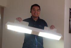"Our Easy LED 36"" shop light (prototype).  Low cost 32Watt LED shop light on Kickstarter."