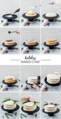 DIY Holiday Naked Cake – Craft and Cocktails - Vegan Wedding Cake Vegan Wedding Cake, Diy Wedding Cake, Cake Craft, Diy Cake, Craft Cocktails, Food Cakes, Cupcake Cakes, Fondant Cakes, Bolos Naked Cake