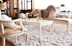furniture cluster from ivory chaise, dining chairs, coffee table detailed with roses & crystal candles on a shagpile rug Dining Bench, Dining Chairs, Garden Parties, Dinner Parties, Cream Roses, Event Styling, Reception Decorations, Accent Chairs, Brisbane Queensland