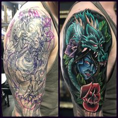 Dragon Cover Up tattoo by Nath! Limited availability at Revival Tattoo Studio! Black Cover Up, Black Tattoo Cover Up, Cover Tattoo, Celtic Tattoos For Men, Tattoos For Women, Tattoos For Guys, Dragon Sleeve Tattoos, Japanese Sleeve Tattoos, Chest Piece Tattoos