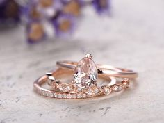 3pcs Morganite engagement ring with diamond setSolid 14k rose