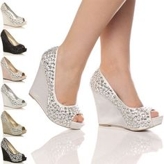 WOMENS WEDDING PLATFORM WEDGE LADIES BRIDAL SANDALS EVENING PROM SHOES SIZE | eBay (another choice with Mardi Gras gown)