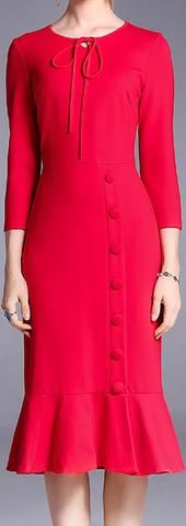 Red Button-Embellished Sheath Dress