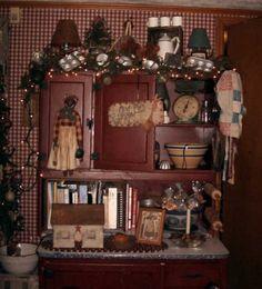 Twigs Old Farmhouse - hmmmmmmmm, should I paint my old Sellers cabinet red?  This looks pretty darn good!
