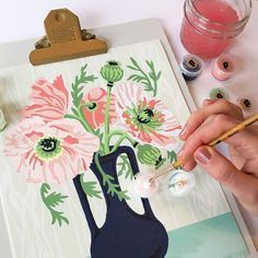 Frida Paintings, Icelandic Poppies, Time Painting, Paint By Number Kits, Painted Pots, Green Art, Learn To Paint, Diy Kits, Flower Art