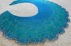 Shimmering Lace-knit Dragonheart Shawl in by NeedlesnPurls on Etsy