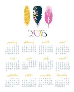 2015  Feather Wall Calendar