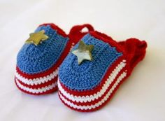 Hand crocheted patriotic baby sandals newborn 0-3 month infant booties cotton crochet thread summer footwear red white blue gold star