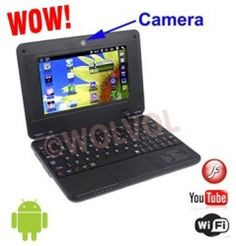 WolVol NEW (Android 4.0 - 1GB RAM) SOLID BLACK 7inch Laptop Notebook Netbook PC, WiFi and Camera with Flash Player (Includes: Velvet Pouch Case, Charger, Mini Optical Mouse).........