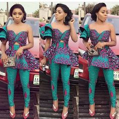 Shop this look here. Latest African dress styles 2018 Latest Ankara styles 2018 African dress African two piece Ankara pants Peplum top African Fashion Designers, Latest African Fashion Dresses, African Dresses For Women, African Print Fashion, Africa Fashion, African Attire, African Wear, African Women, African Outfits