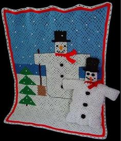 Picture of Folk Art Snowman Afghan and Pillow Crochet Pattern