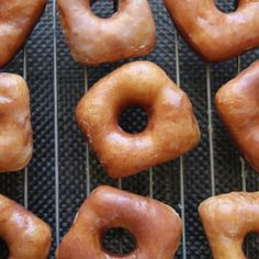 These yeast-raised gems are soft and sweet. If you can, try and enjoy them within an hour of being made (just like that famous doughnut shop).Courtesy of Anna Olson Mini Desserts, Cookie Desserts, Dessert Recipes, Breakfast Recipes, Anna Olson, Easy Donut Recipe, Baked Doughnuts, Mini Doughnuts, Doughnut Shop