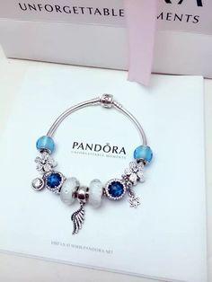 Tendance Bracelets 50% OFF!!! $279 Pandora Charm Bracelet Blue White. Hot Sale!!! SKU: CB01988 PA