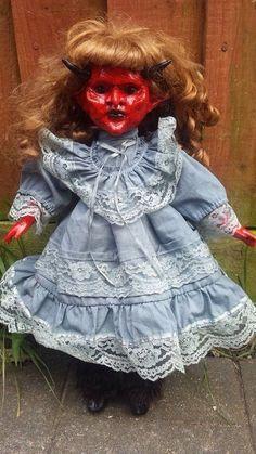 Devil girl demon horror scary creepy painted ooak China porcelian doll
