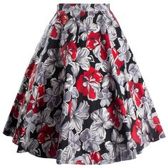 Vintage Floral Printed Skater Skirt ($18) ❤ liked on Polyvore featuring skirts, rosegal, flared skirt, flower print skirt, floral knee length skirt, floral skirt and circle skirts