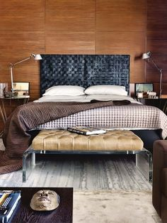 WSH <3 the woven leather headboard, the lucite leg end of bed stool and the task lamps.