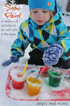 Snow Paint-a rainbow of activities to do with color in the snow Reggio Art Activities, Rainbow Activities, Educational Activities For Kids, Activities To Do, Winter Activities, Outdoor Activities, Winter Crafts For Kids, Winter Fun, Preschool Winter