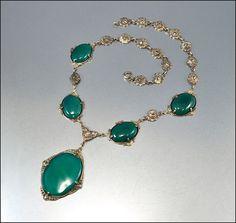 Vintage Art Deco Necklace Marcasite Chrysoprase by boylerpf, $145.00
