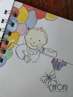 http://cafofuateliedearte.blogspot.com.br/2014/04/mini-album-de-bebe-personalizado.html com miolo personalizado desenhado pela artista plástica Colonita Vilela.