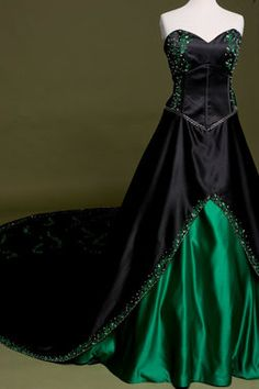 Gothic wedding dress, emerald green and black bridal gown.  A beautiful offbeat fantasy dress, perfect for a Halloween, Nerd, or Offbeat themed wedding.