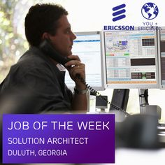 We're currently hiring a Solution Architect to join our creative environment in Duluth, Georgia. Click here to apply now: https://jobs.ericsson.com/job/Duluth-Solution-Architect-Experienced-GA-30026/64644400/