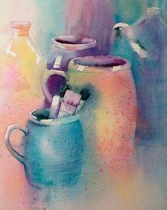 Watercolour pots by Judith Jerams, France.