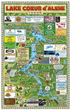 Fun Maps USA - Lake Coeur D'Alene, ID