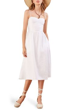 Free shipping and returns on Reformation Olivia Linen Midi Dress at Nordstrom.com. The sweetest of all necklines tops this flowy rouleau-strap sundress woven in lightweight, breathable linen for pretty, carefree style.