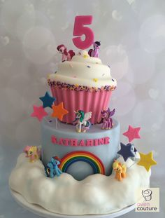 My Little Pony Cake with cereal treat clouds!  by Oven Couture https://www.facebook.com/Oven-Couture-Smallish-Confection-Perfection-239221606110260/