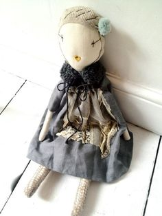 Image of Jess Brown Linen & Lace Dress Doll