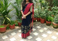 Navy Blue Saree with  Red boarder