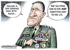 Dave Granlund - Politicalcartoons.com - Flynn and Russia COLOR - English - Flynn, national security, advisor, trump, sanctions, Russia, call, phone, liar, forgot, mike Flynn, putin, Russian, Russia first lt Gen, general, gen, LTG, army, dishonor,