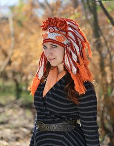 Orange white crochet hat imitation Indian feather headdress Native tribal vivid Chief crafted adult shaman Roach hippie festival Christmas