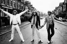 Stock Photo - The Bee Gees pop group 1981 Barry Gibb Maurice Gibb Robin Gibb standing in street John Frusciante, Nina Simone, Robert Smith, Janis Joplin, Eric Clapton, Elvis Presley, Visit Manchester, Manchester Street, Manchester England