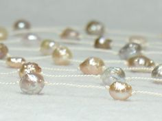 Long Tin Cup Pearl Necklace on Silk Cord  Baroque by hanyou23, $85.00