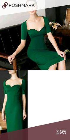 European fitted dress Green fitted dress made with body hugging design. Calf length OGONEWYORK Dresses Midi