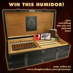 I just entered win a 200-count humidor and 20 cigars from CheapHumidors.com! Re-Pin this and enter online: http://www.cheaphumidors.com/giveaways
